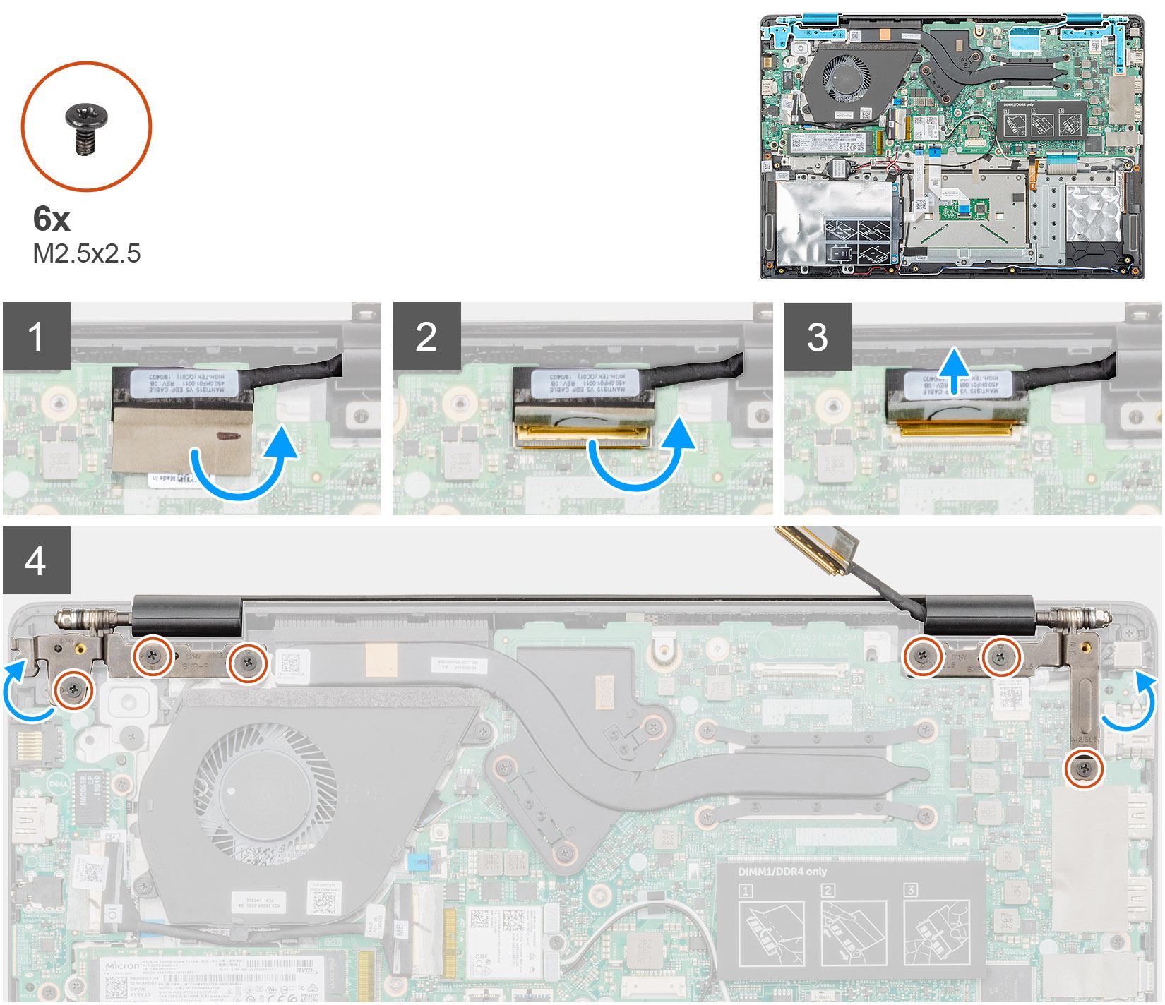 tháo cáp và bản lề màn hình dell vostro 5490