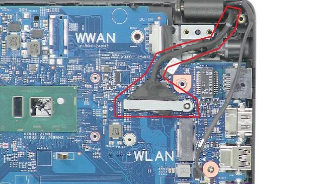tháo cáp màn hình dell 3480