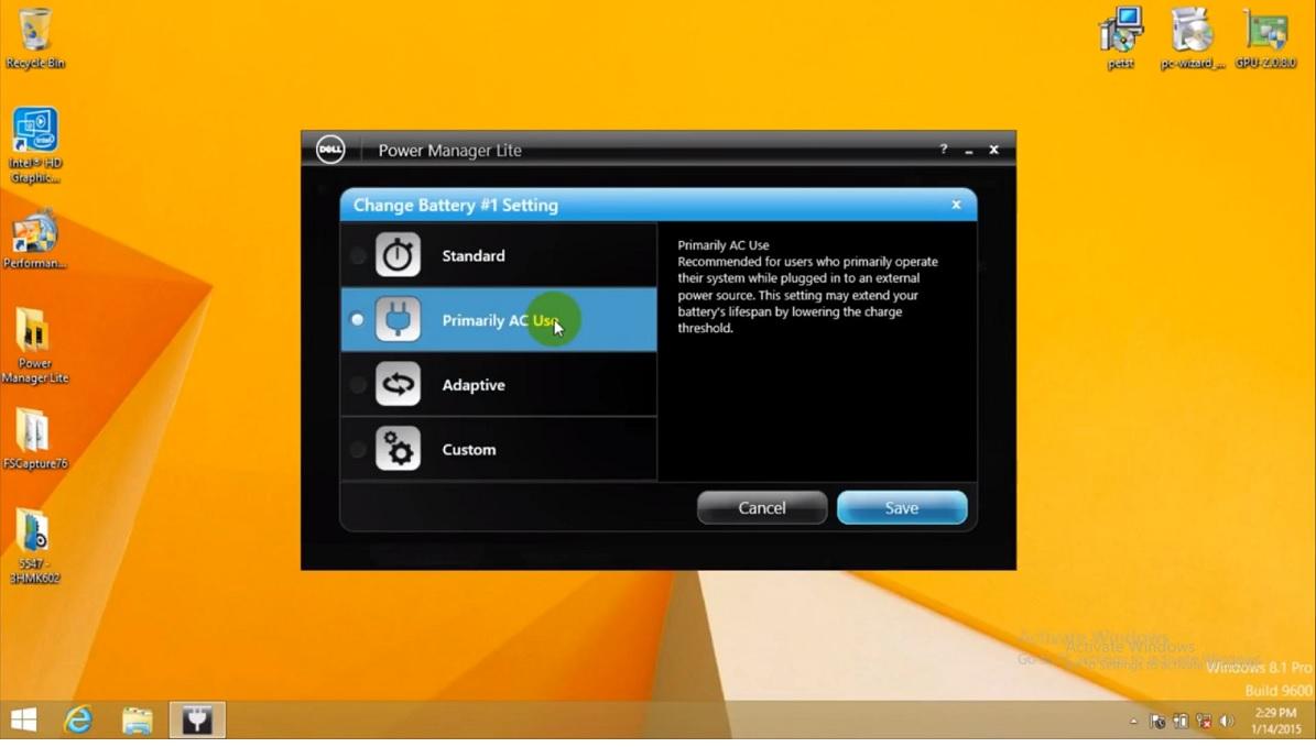 các tính năng của phần mềm power Manager Lite